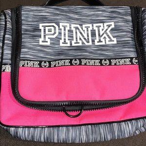 Pink hanging shower travel makeup cosmetic bag
